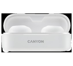 Slika izdelka: Canyon TWS-1 Bluetooth headset, with microphone, BT V5.0, Bluetrum AB5376A2, battery EarBud 45mAh*2+Charging Case 300mAh, cable length 0.3m, 66*28*24mm, 0.04kg, White