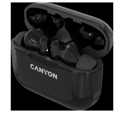 Slika izdelka: Canyon TWS-3 Bluetooth headset, with microphone, BT V5.0, Bluetrum AB5376A2, battery EarBud 40mAh*2+Charging Case 300mAh, cable length 0.3m, 62*22*46mm, 0.046kg, Black