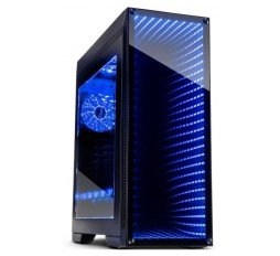 Slika izdelka: Chassis INTER-TECH M-908 Gaming Midi Tower, eATX, 2xUSB3.0, 2xUSB2.0, audio, PSU optional,  Window side panel, Tempered glass front with RGB Infinity-Mirror, 3x 120mm RGB fans, RGB LED strip, Dust filters, Black