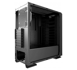 Slika izdelka: Chassis INTER-TECH S-3906 RENEGADE Gaming Midi Tower, ATX, 2xUSB3.0, 2xUSB2.0, audio, PSU optional, Tempered glass side panel, RGB LED strip in the front, RGB control board, 120mm RGB fan, Dust filters, Black