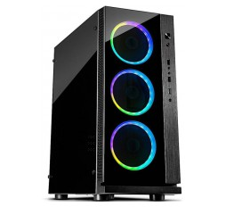Slika izdelka: Chassis INTER-TECH W-III RGB Gaming Midi Tower, ATX, 1xUSB3.0, 2xUSB2.0, audio, PSU optional, Acrylic side panel, Tempered glass front with 3x Argus RS03 RGB-fans + remote , Dust filters, Black