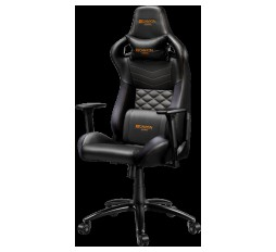 Slika izdelka: Gaming chair, PU leather, Cold molded foam, Metal Frame, Top gun mechanism, 90-160 dgree, 3D armrest, Class 4 gas lift, metal base ,60mm Nylon Castor, black and orange stitching