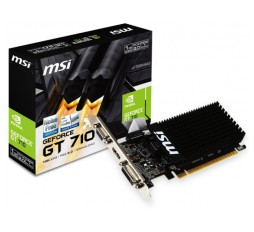Slika izdelka: MSI Video Card NVidia GeForce GT 710 DDR3 1GB/64bit, 954MHz/1600GHz, PCI-E 2.0 x16, HDMI, DVI-D, VGA Heatsink, Low-profile, Retail