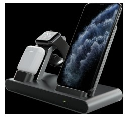 Slika izdelka: Prestigio ReVolt A1, charging station for iPhone, Apple Watch, AirPods, 2 wireless interfaces, fast charging, input voltage: 9V,2A, 5V,2A, output power for phone 10/7.5/5W, LED status indicator, metal body with anti-slip base, space grey color
