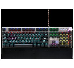 Slika izdelka: Wired Gaming Keyboard,Black 104 mechanical switches,60 million times key life, 22 types of lights,Removable magnetic wrist rest,4 Multifunctional control knob,Trigger actuation 1.5mm,1.6m Braided cable,US layout,dark grey, size:435*125*37.47mm, 840g